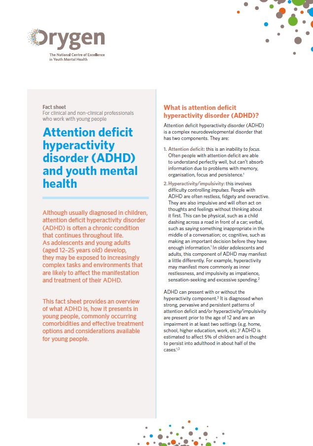 Attention deficit hyperactivity disorder (ADHD) and youth mental health