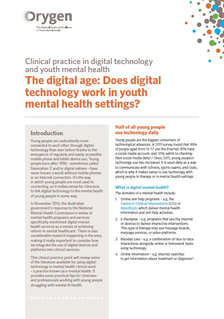 The digital age: Does digital technology work in youth mental health settings?
